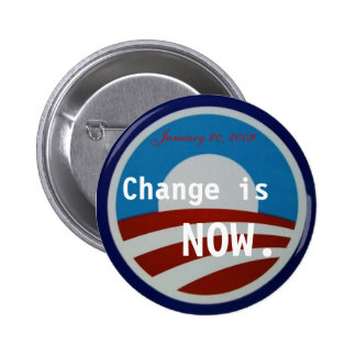 Obama symbol, Change is NOW., January 20, 2009 6 Cm Round Badge