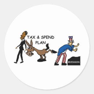 Obama Tax & Spend Plan Round Sticker