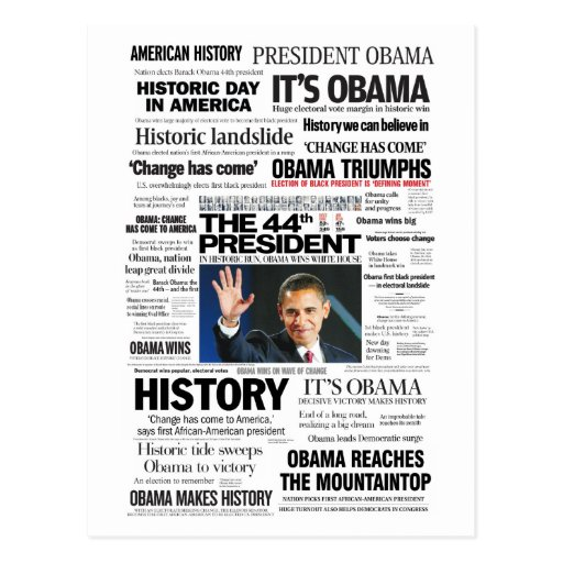 Obama: The 44th President Headline Collage Postcards