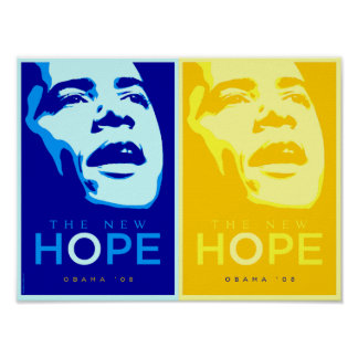 Obama - The New Hope Blue & Gold Poster