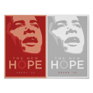 Obama - The New Hope Red & White Poster