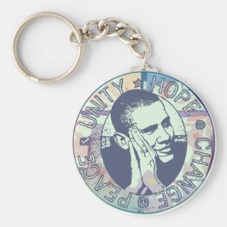 Obama Unity, Hope, Change and Peace 2012 Basic Round Button Key Ring