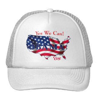 Obama USA yes we can Cap Trucker Hat