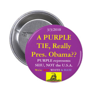 Obama Wears SEIU Purple 6 Cm Round Badge