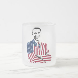 Obama with an American Flag Jacket Frosted Glass Mug