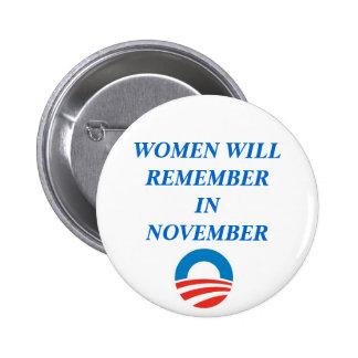 OBAMA WOMEN WILL REMEMBER IN NOVEMBER BUTTON