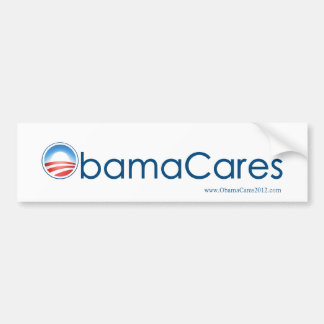 ObamaCares Bumper Sticker (Blue on White)