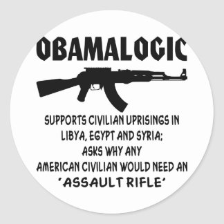 Obamalogic Supports Civilian Uprising in Syria & Classic Round Sticker