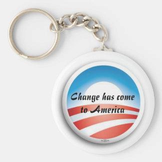 ObamaLogo, Change has come to America Basic Round Button Key Ring