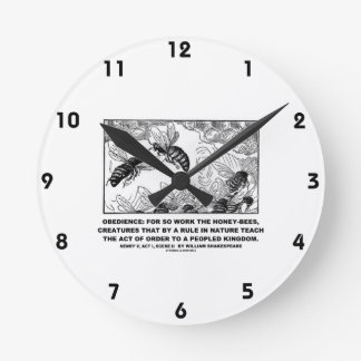 Obedience Work Honey-Bees Henry V Shakespeare Round Clock
