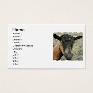 Oberhasli brown goat head shot in color business card
