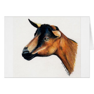 """Oberhasli Goat"" Animal Art Greeting Card"