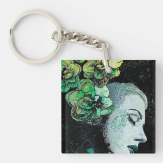 OBEY ME - flower girl graffiti portrait Key Ring