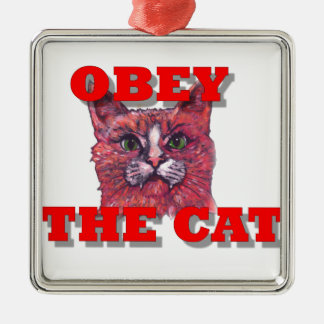 Obey the Cat Silver-Colored Square Decoration