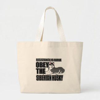 Obey The Siberian Husky Large Tote Bag