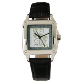 Oboe and Foliage Stone Effect Custom Monogram Watch