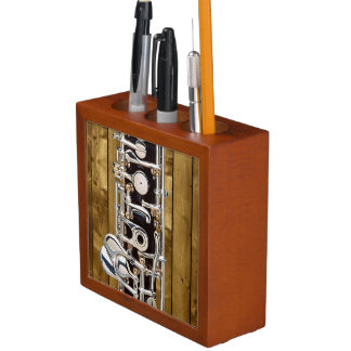 Oboe Keys on Wood Panel Effect Desk Organiser