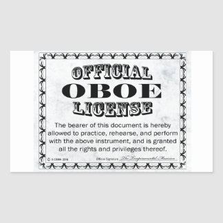 Oboe License Rectangular Sticker