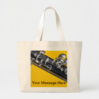 Oboe on Yellow Background Large Tote Bag