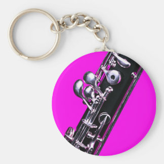 Oboe Picture on Pink Background Keychain