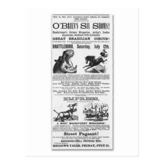 O'Brian's Six Shows Circus Advertisement Postcard