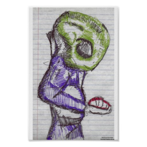 Observation green alien posters