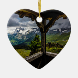 Observing The Grindelwald Valley And Swiss Alps Ceramic Heart Decoration