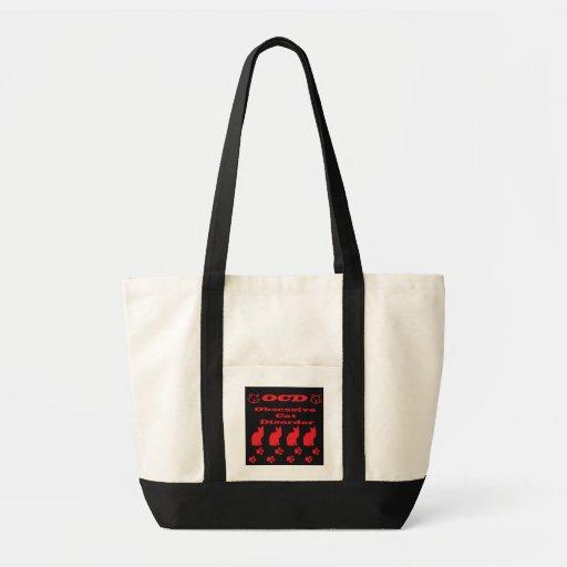 Obsessive Cat Disorder Tote Bag Black/Red Design