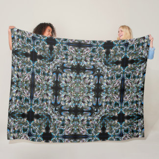 Obsidian High Guardian Angel Night Mandala Quilt Fleece Blanket
