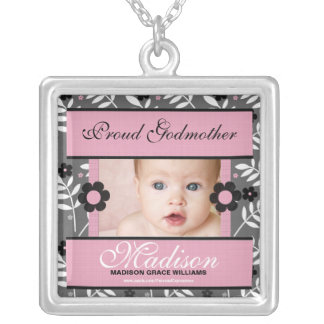 OBSOLETE: Proud Godmother Personalized Photo Silver Plated Necklace