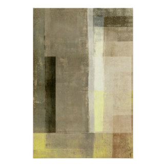 'Obvious' Beige and Yellow Abstract Art Poster