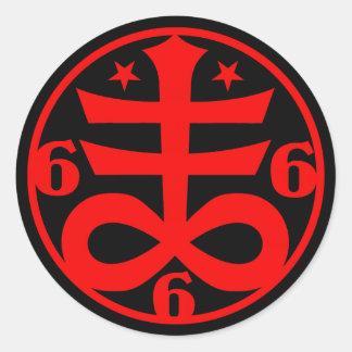 Occult Goth Satanic Cross Symbol Classic Round Sticker