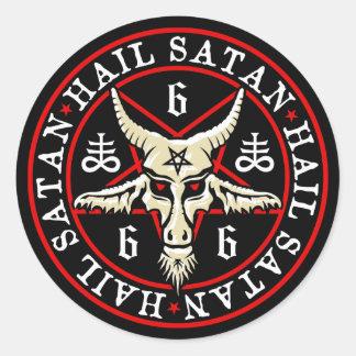 Occult Hail Satan Baphomet Goat in Pentagram Round Sticker