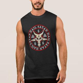 Occult Hail Satan Baphomet in Pentagram Sleeveless Shirt
