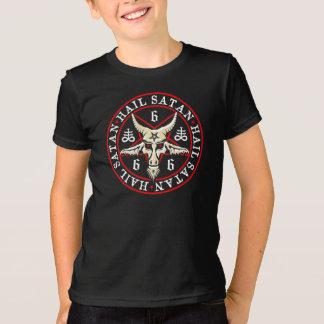 Occult Hail Satan Baphomet in Pentagram T Shirt