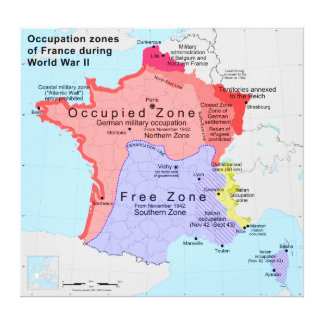 Occupation Zones of France During World War II Canvas Prints