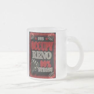 Occupy Reno OWS protest 99 percent strong poster Frosted Glass Coffee Mug