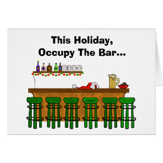 Occupy The Bar Funny Christmas Card - Version 2
