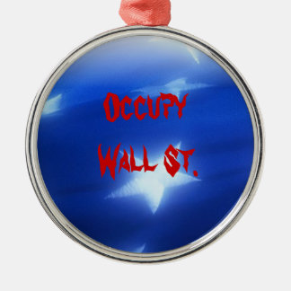 Occupy Wall St. Silver-Colored Round Decoration