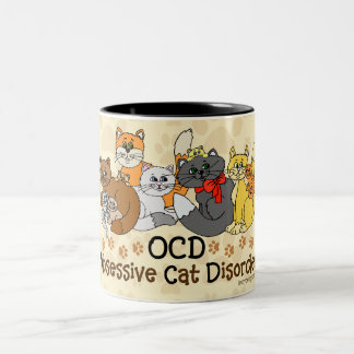 OCD Obsessive Cat Disorder Two-Tone Coffee Mug
