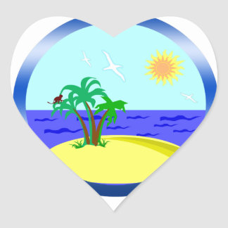 Ocean and sunlight heart sticker