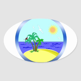 Ocean and sunlight oval sticker