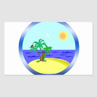 Ocean and sunlight rectangular sticker