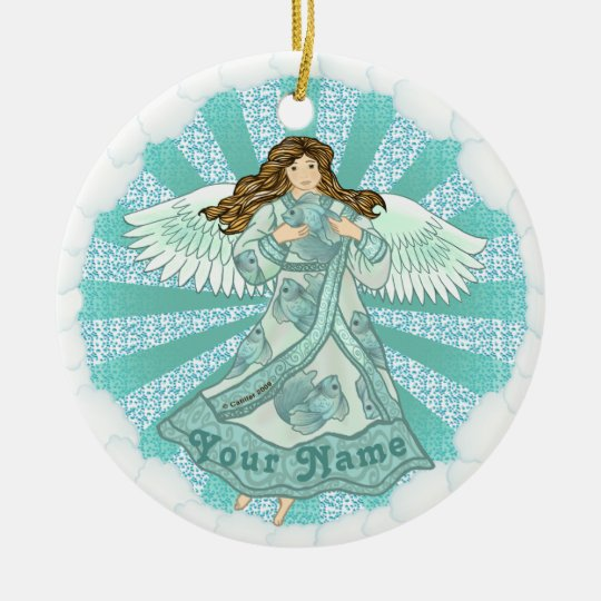 Ocean Angel custom name Ceramic Ornament