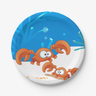 Ocean Aquatic Cute Crabs Paper Plates