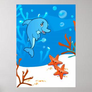 Ocean Aquatic  Cute Dolphin Starfish Poster