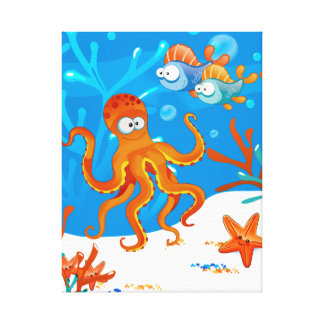 Ocean Aquatic Cute Octopus Wrapped Canvas