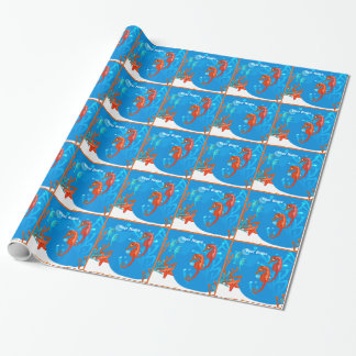 Ocean Aquatic Cute Seahorse Custom Wrap Wrapping Paper