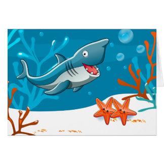 Ocean Aquatic Cute Shark Starfish Custom Greeting Card