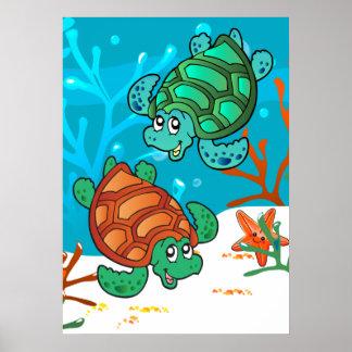 Ocean Aquatic Cute Turtle Starfish Kids Room P Poster